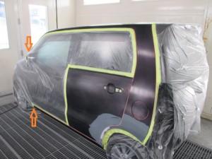 スズキ ワゴンR ボディの凹み 鈑金(板金)塗装修理