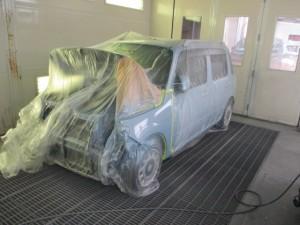 ダイハツミラココア 凹みの 板金塗装修理