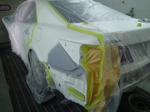 埼玉県 桶川市 210系クラウンアスリートS ブラックスタイル 左リヤフェンダー、リヤバンパー板金・修理・塗装