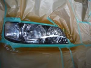 ヘッドライトレンズ 黄ばみ除去 再塗装