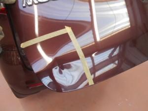 日産モコ バックドアの凹み修理